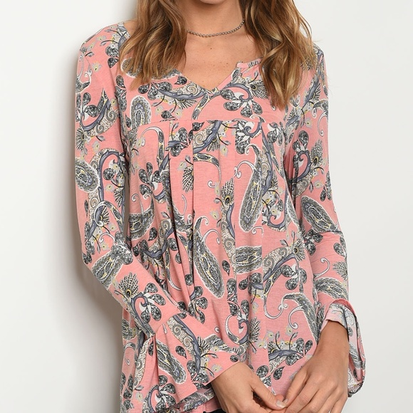 Paisley Pullover Top w/Bell Sleeves